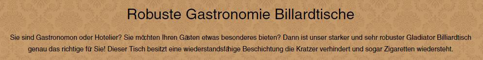 Gastronomie-Billarditsche