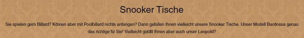 Snooker-Tische aus  Bonn